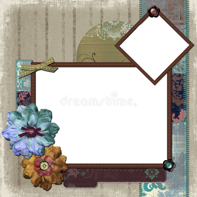 Floral Country Photo Frame. A floral, country style background/photo frame for scrapbooking and designs stock illustration