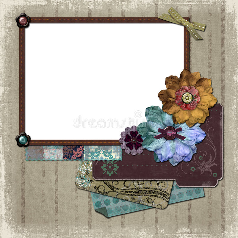 Floral Country Photo Frame. A floral, country style background/photo frame for scrapbooking and designs royalty free illustration