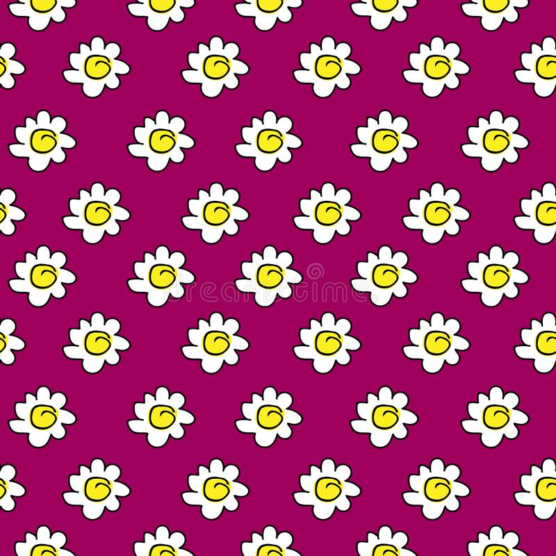 Floral crimson seamless chamomile drawing. vector illustration. White daisies seamless pattern on a bright background. vector illustration