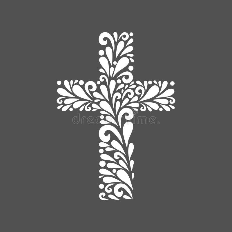 Floral cross. stock illustration
