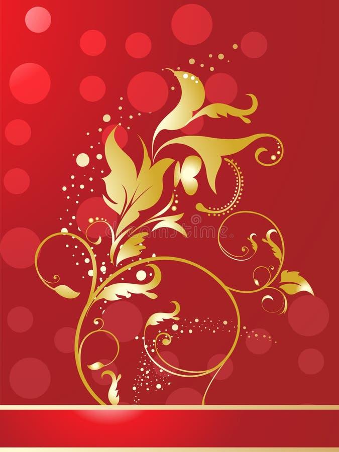Floral d'or brillant rouge abstrait illustration de vecteur