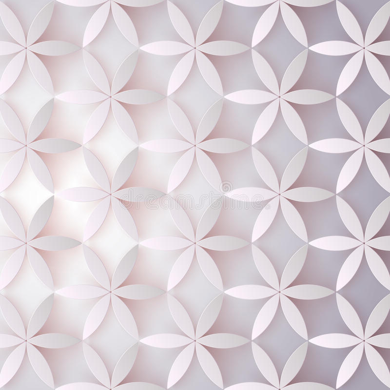 Floral 3d pattern. Abstract flowers with shadows. Elegant texture, vector background. Colorful trendy design for print royalty free illustration