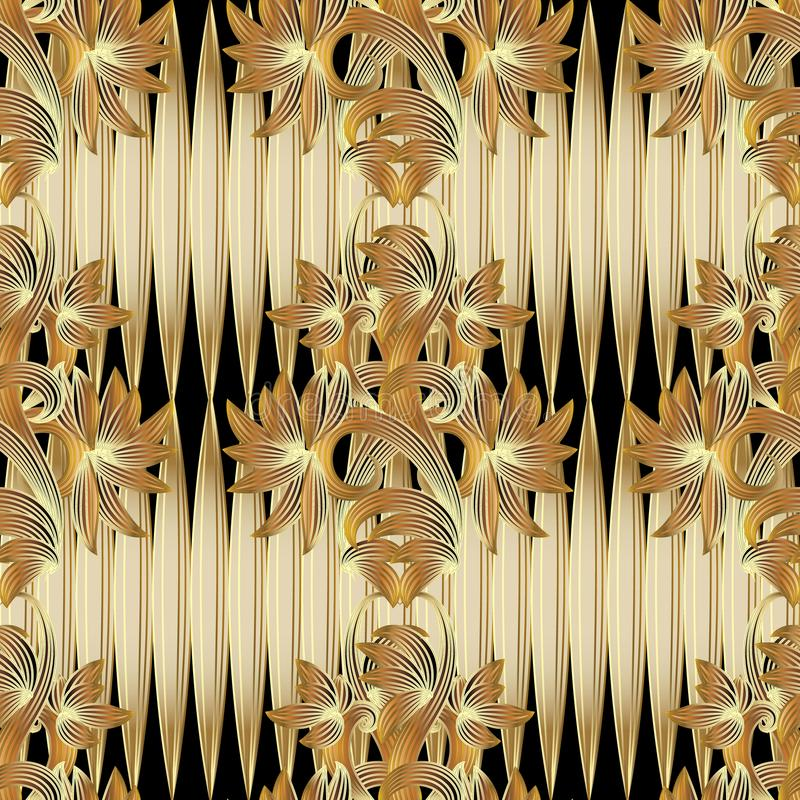 Floral 3d seamless pattern. Vector gold black background with do stock illustration