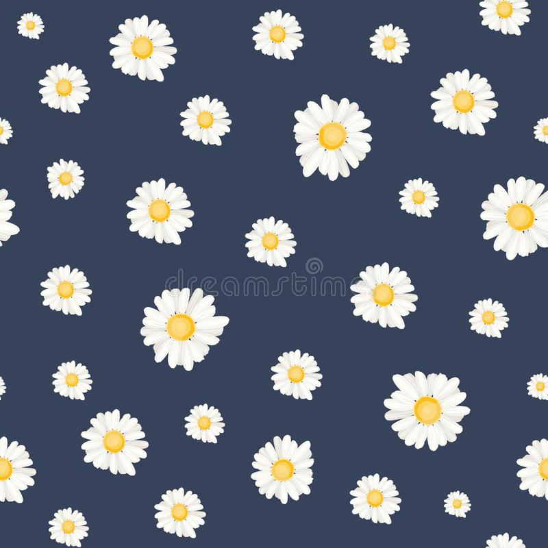 Floral daisy chamomile botanical seamless pattern. Trendy daisy chamomile flowers botanical scattered random pattern. Seamless ditsy floral texture for prints vector illustration