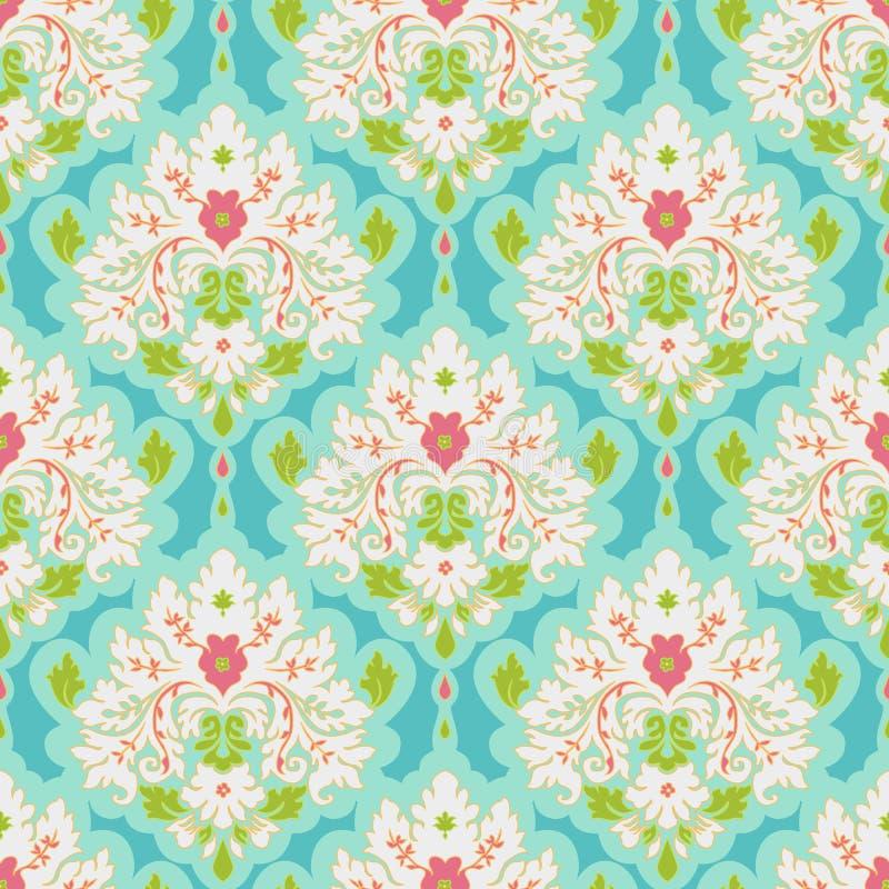 Floral Damask. Floral colorful damask seamless pattern. Classic background stock illustration