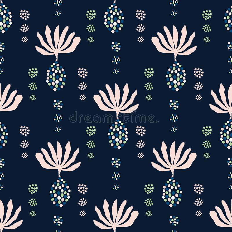 Floral Damask Motif Background. Naive Seed Blossom Dark Flower Seamless Pattern. Elegant Exotic Tropical Bloom on Classic Blue. Indigo. Hand Drawn Textile vector illustration