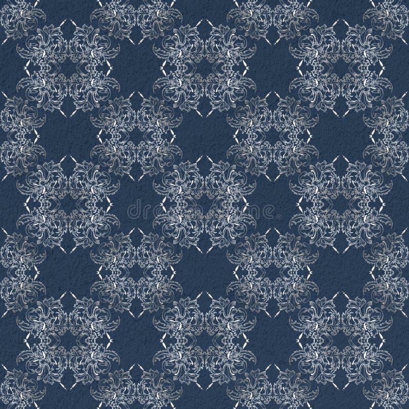 Floral damask pattern on grunge background stock photography