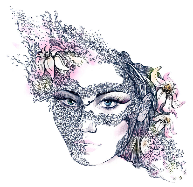 Floral Decorated Face Stock Images