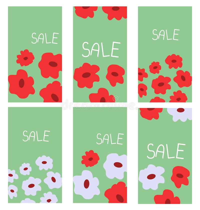 Floral decoration banners royalty free illustration