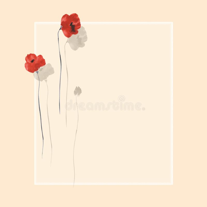 Floral decoration. Birthday card. Blossoming flowers of red poppies on a beige background. Watercolor royalty free illustration