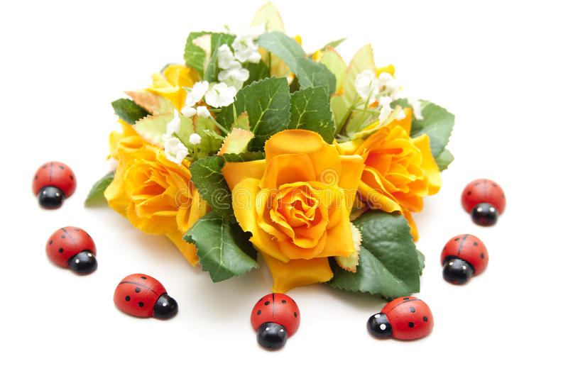 Download Floral Decoration With Ladybug Stock Photo - Image of phoney, flower: 24390028