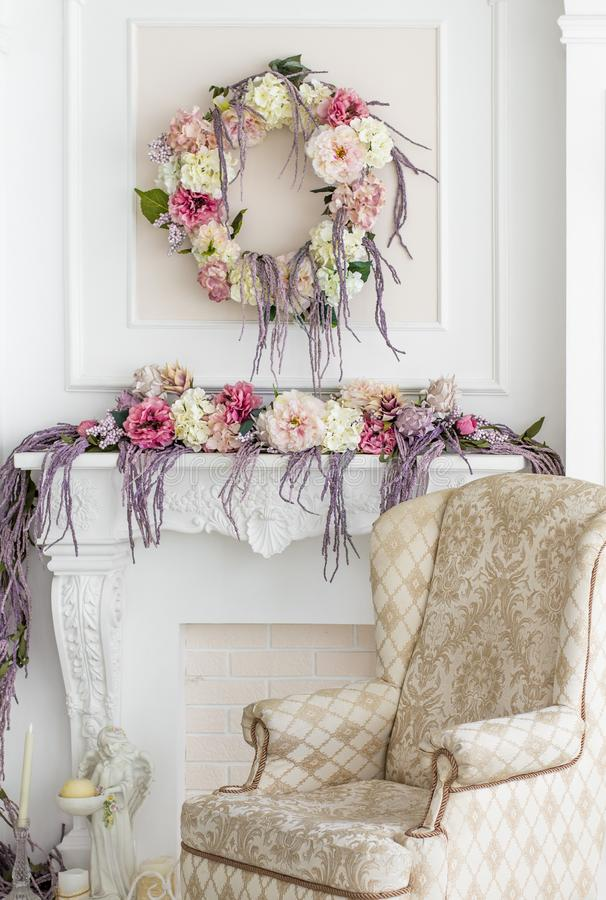 Floral decoration in the photo studio. Interior photo studio. Wedding decorations. Gentle spring flowers. flower composition. Armc royalty free stock photos