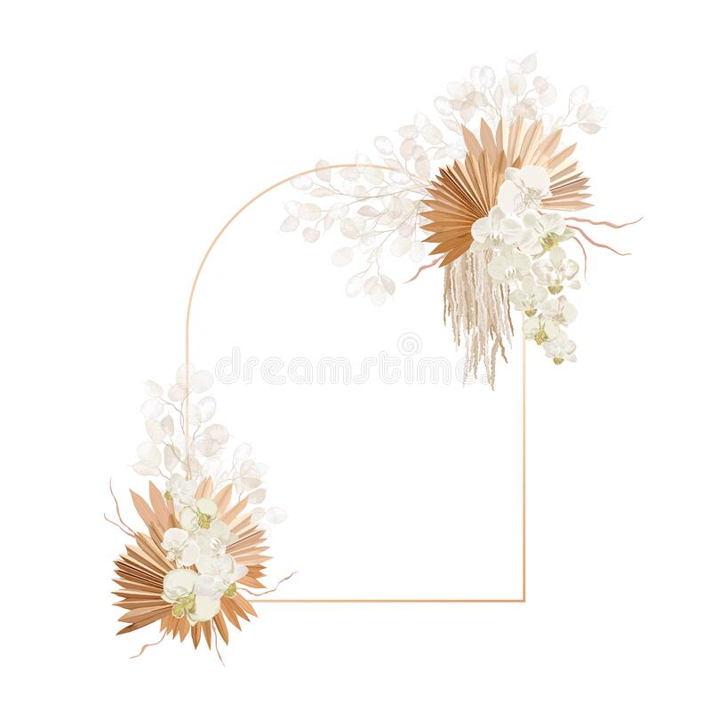 Free Floral Decoration Vector Frame. Dried Lunaria, Orchid, Pampas Grass Wedding Wreath. Exotic Dry Flowers Royalty Free Stock Image - 202149666