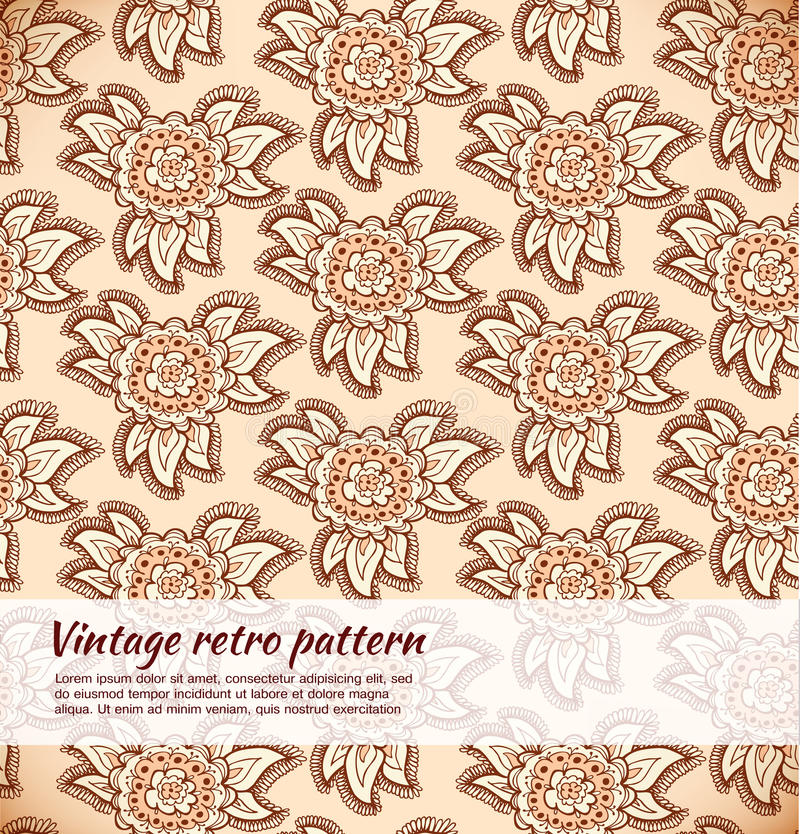 Floral decorative beige seamless texture. Background with ornate flowers stock illustration