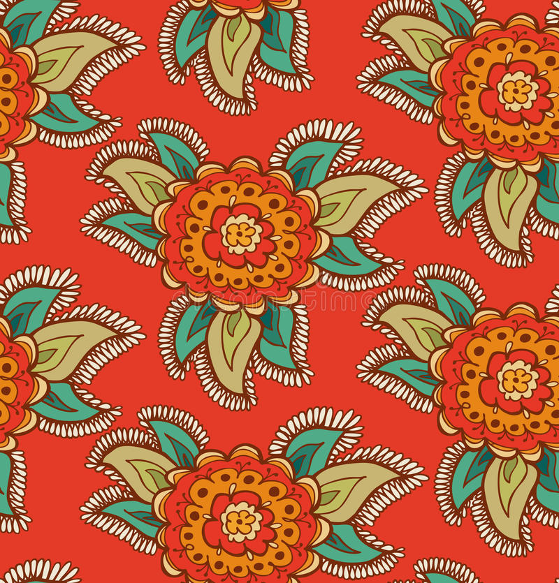 Floral decorative colorful seamless texture. Background with ornate flowers vector illustration