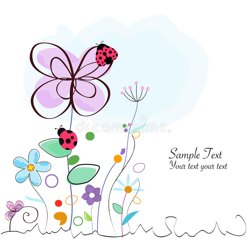 Floral decorative greeting card with ladybird vector royalty free illustration