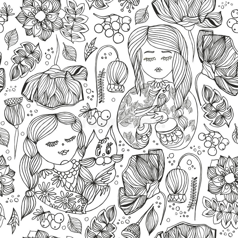 Floral decorative monochrome seamless pattern. Adult antistress royalty free stock photos