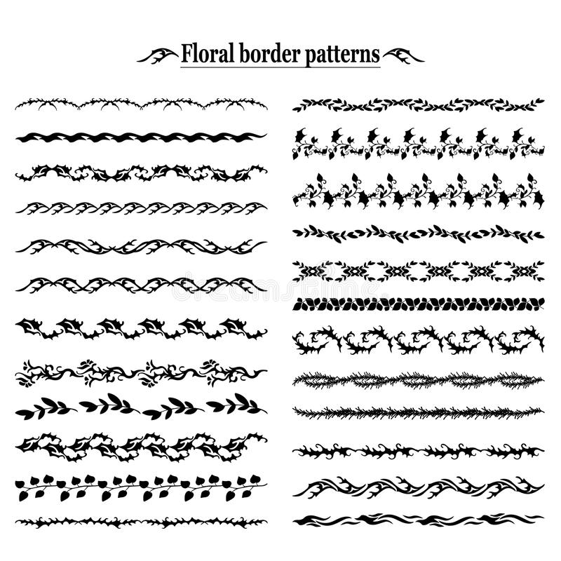 Floral Decorative Ornamental Border Set stock illustration