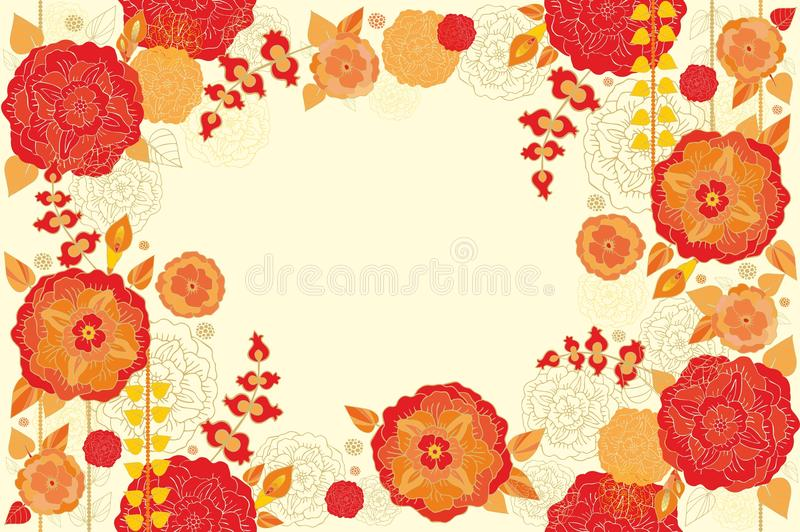 Floral decorative seamless frame