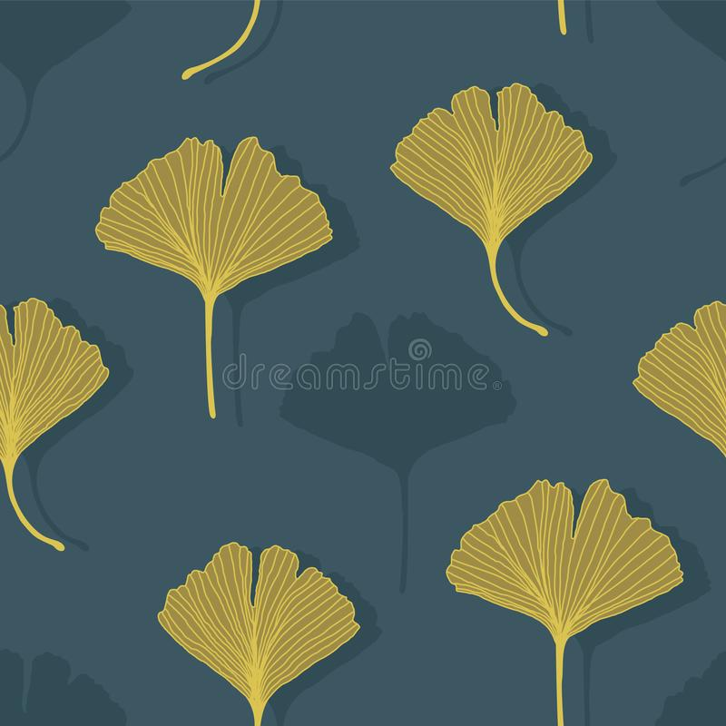 Floral decorative seamless pattern with yellow golden ginkgo biloba leaves on dark blue background. Endless background can be used vector illustration