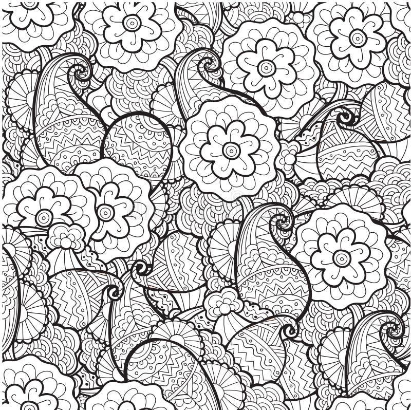 Floral decorativo preto e branco do vetor ilustração royalty free