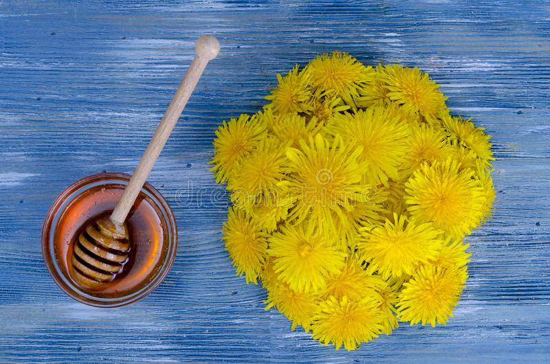 Floral delicious honey from dandelions. Studio Photo royalty free stock photography