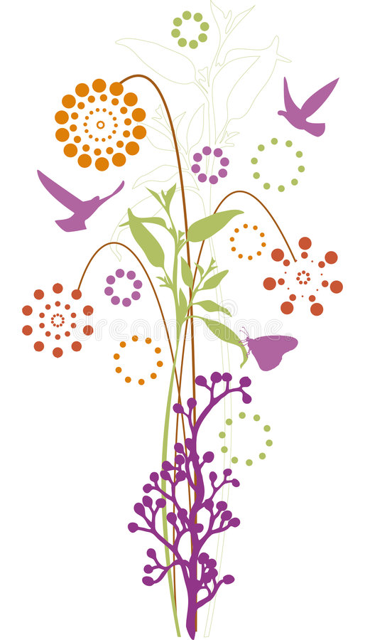 Download Floral design stock vector. Illustration of green, bird - 5644723