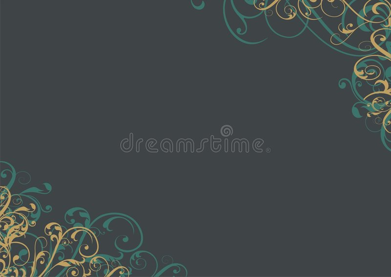 Floral design background. Dark background with green and gold floral designs in the corners stock illustration