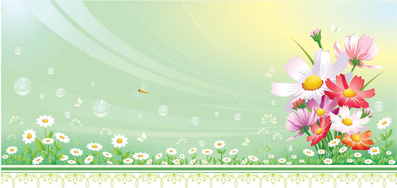Floral design with bee royalty free illustration