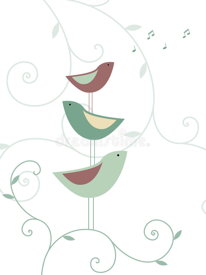 Floral design with birds royalty free stock images