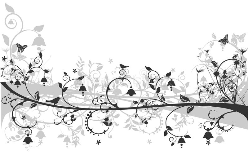Floral design with birds and butterflies vector illustration