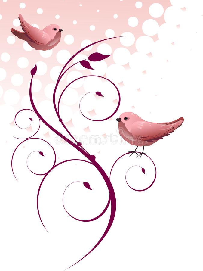 Download Floral design with birds stock illustration. Image of backdrop - 30360283