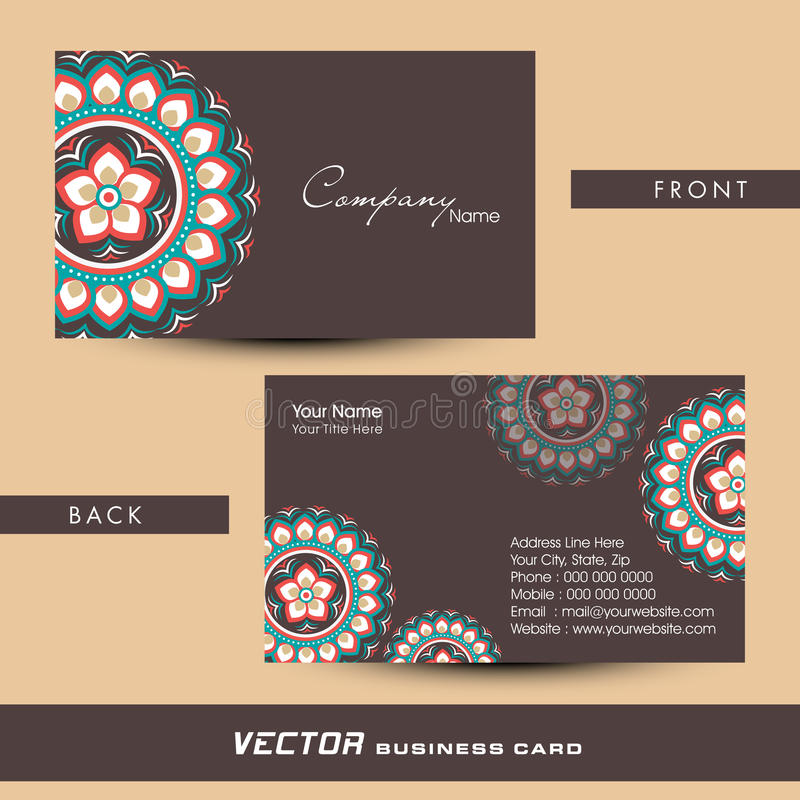 Floral Design Decorated Business Or Visiting Card Design. Stock ...
