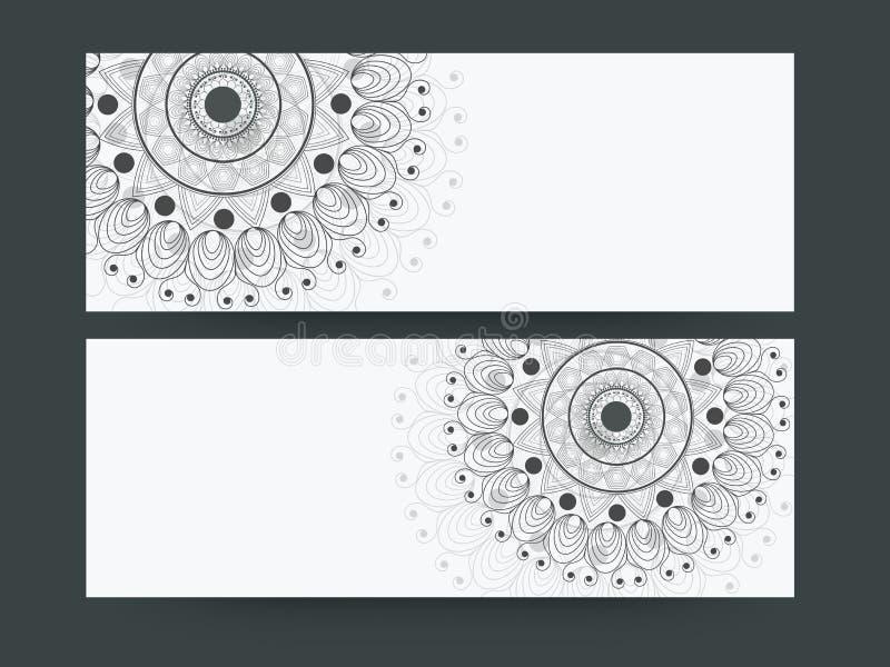 Floral design decorated website header or banner set. vector illustration