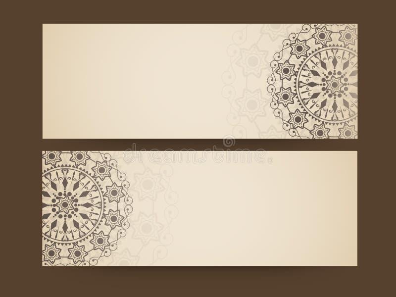 Floral design decorated website header or banner set. stock illustration