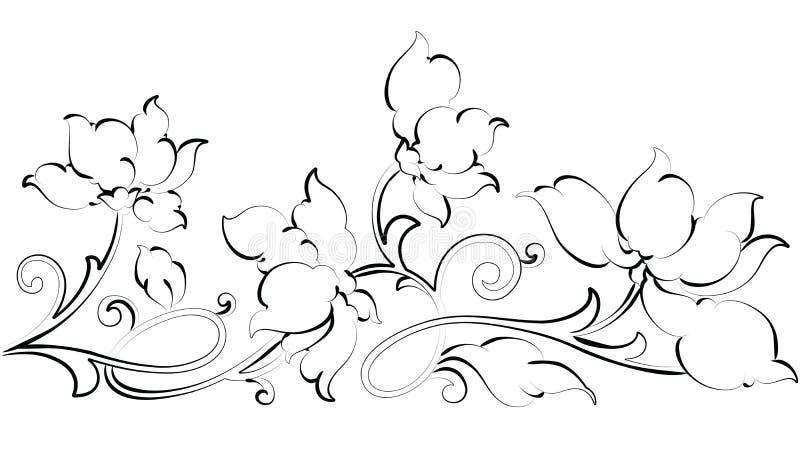 Floral design element-Floral border stock illustration