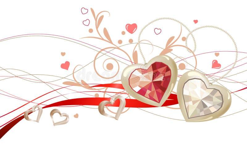 Floral design element with gems royalty free illustration