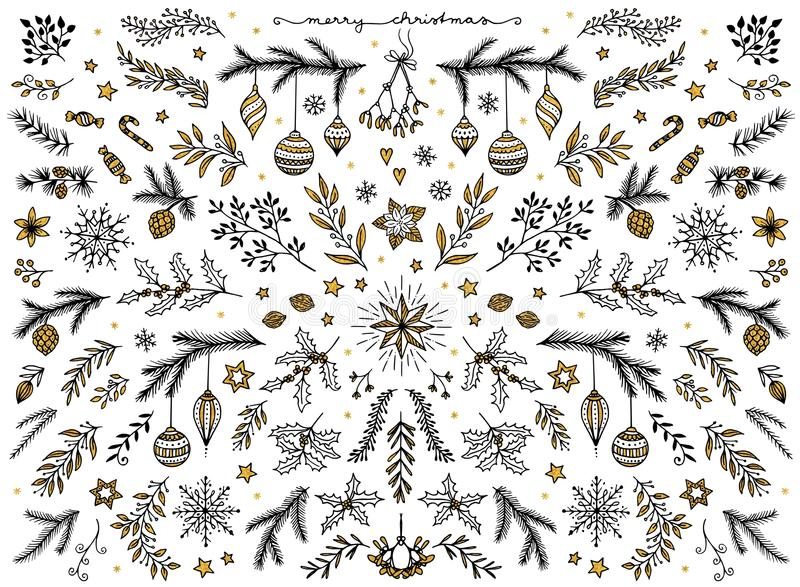 Floral design elements for Christmas, with gold foil. Hand sketched floral design elements for Christmas: pine tree branches, holly, mistletoe and other floral stock illustration