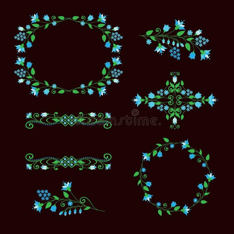 Floral design elements set, ornamental frames for age decoration. stock illustration