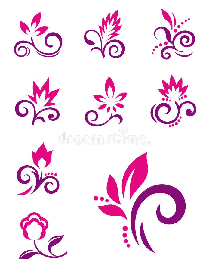 Free Floral Design Elements. Vector Flower Icons Stock Photo - 27679380
