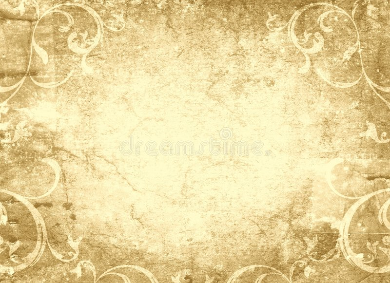 Floral design and grungy old parchment stock image