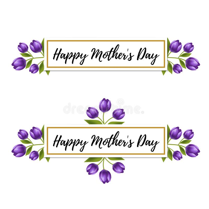 Floral design. Happy Mother`s day violet tulip flower. Realistic floral frame. Happy women`s day card vector illustration stock illustration