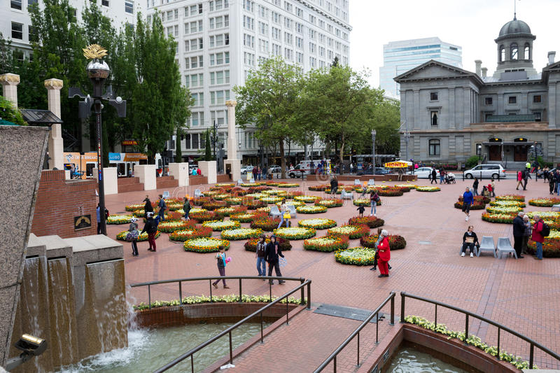 Floral design in Pioneer Courthouse Square stock photography