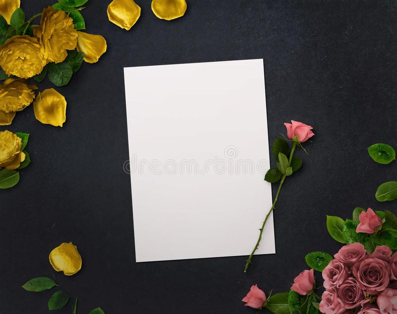 Floral design for Save The Date, Thank you card, mothers day, valentines day, birthday cards. stock image
