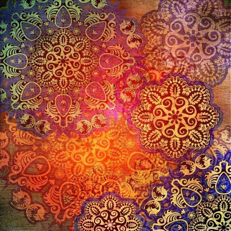 Floral design on shabby background vector illustration