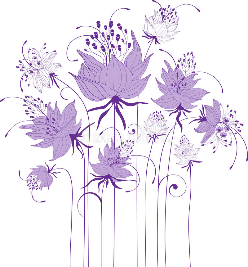 Floral design, stylized flowers. Bouquet of abstract flowers royalty free illustration