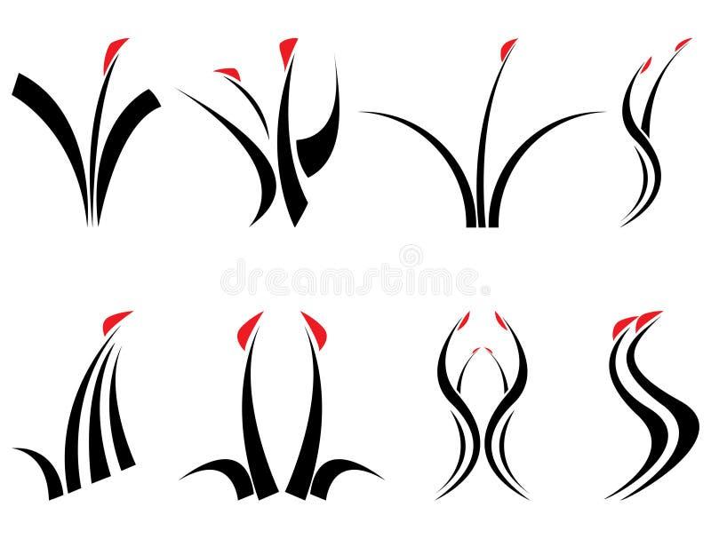Floral design symbols royalty free illustration