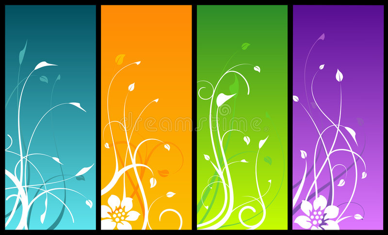 Download Floral Designs On Colored Backgrounds Stock Vector - Image: 3611656