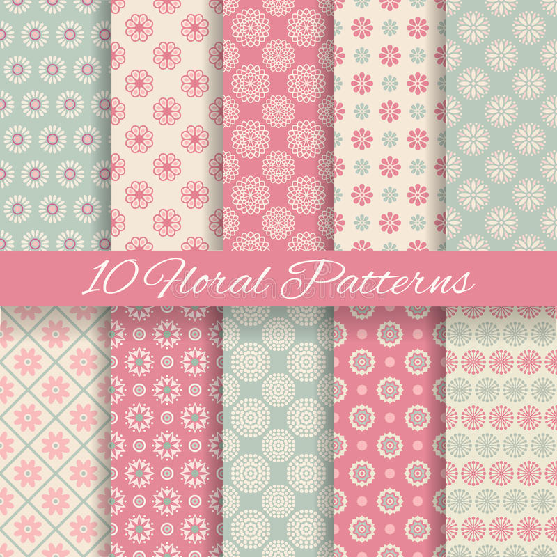 Floral different vector seamless patterns royalty free illustration