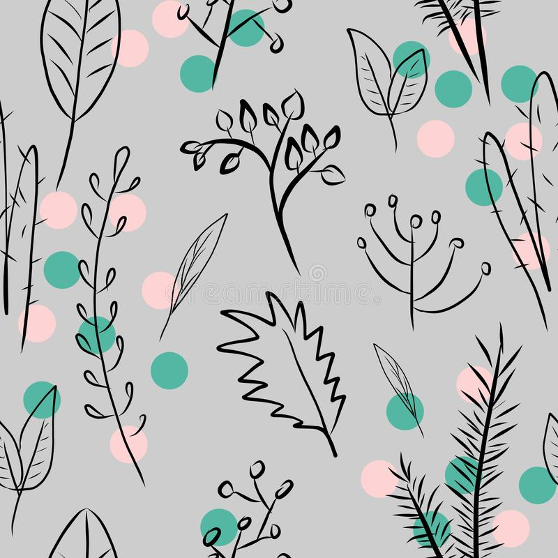Floral digital painting, seamless pattern with plants on gray background with pink and green dots royalty free illustration
